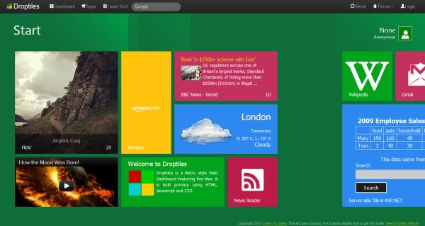 Droptiles Metro Style Live Tiles Enabled Web 2 0 Dashboard